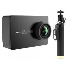 Экшн-камера+монопод с пультом Xiaomi Yi 4k Action Camera (черный)